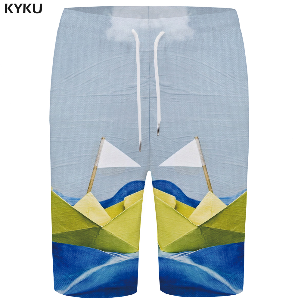 KYKU Wave   Board     Shorts   Men White Painting Boardshorts Phantom Sailboat 3d Printed   Shorts   Beach Casual Mens   Shorts   Quick Silver