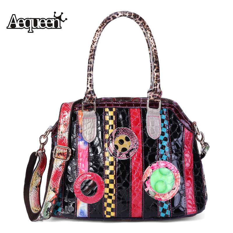 AEQUEEN Genuine Leather Shell Bags Women Geometric Patchwork Handbag Brand Shoulder Bag Ladies Colour Crossbody Bag