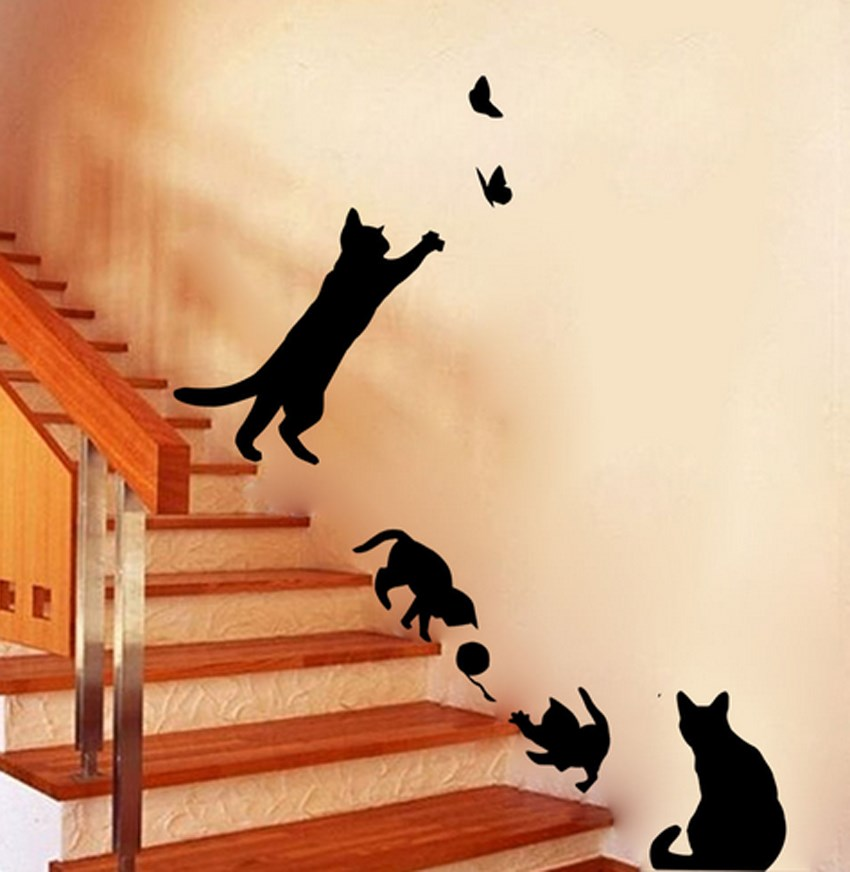 Gato Negro Juego De Living Room Decor Extrable Decal Vinilo Arte Mural PVC Etiqueta La