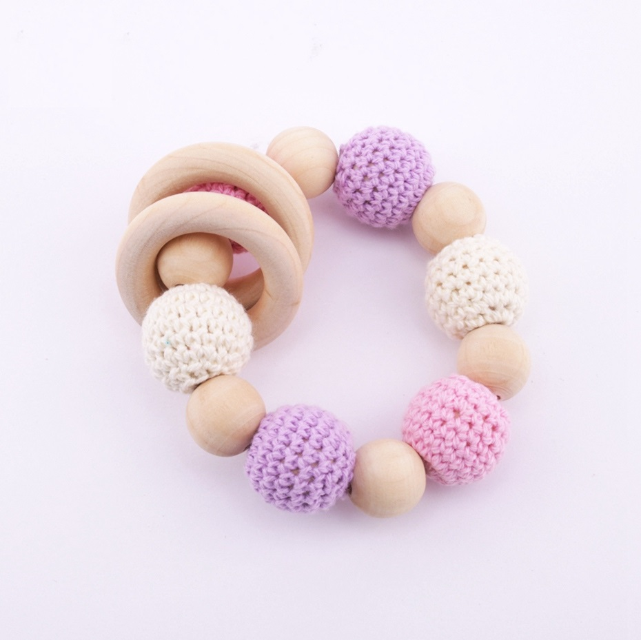Baby Bracelet Crochet Beads Wooden Ring Organic Rattle Toy Teething Toy DIY Nursing Bracelet Baby Wooden Teether Rodent BPA Free