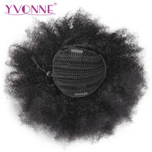 Yvonne Brazilian Virgin Afro Kinky Curly Drawstring Ponytail Human Hair Clip In Extensions Natural Color 1 Piece(China)