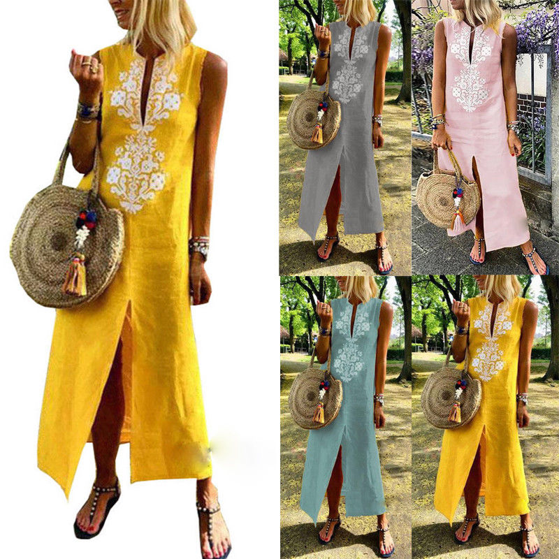 Hot Kaftan Women Dress Caftan Sleeveless Print V Neck Cover Boho Gown Hippie Ladies Loose Beach Summer African Dress Plus Size in Dresses from Women 39 s Clothing