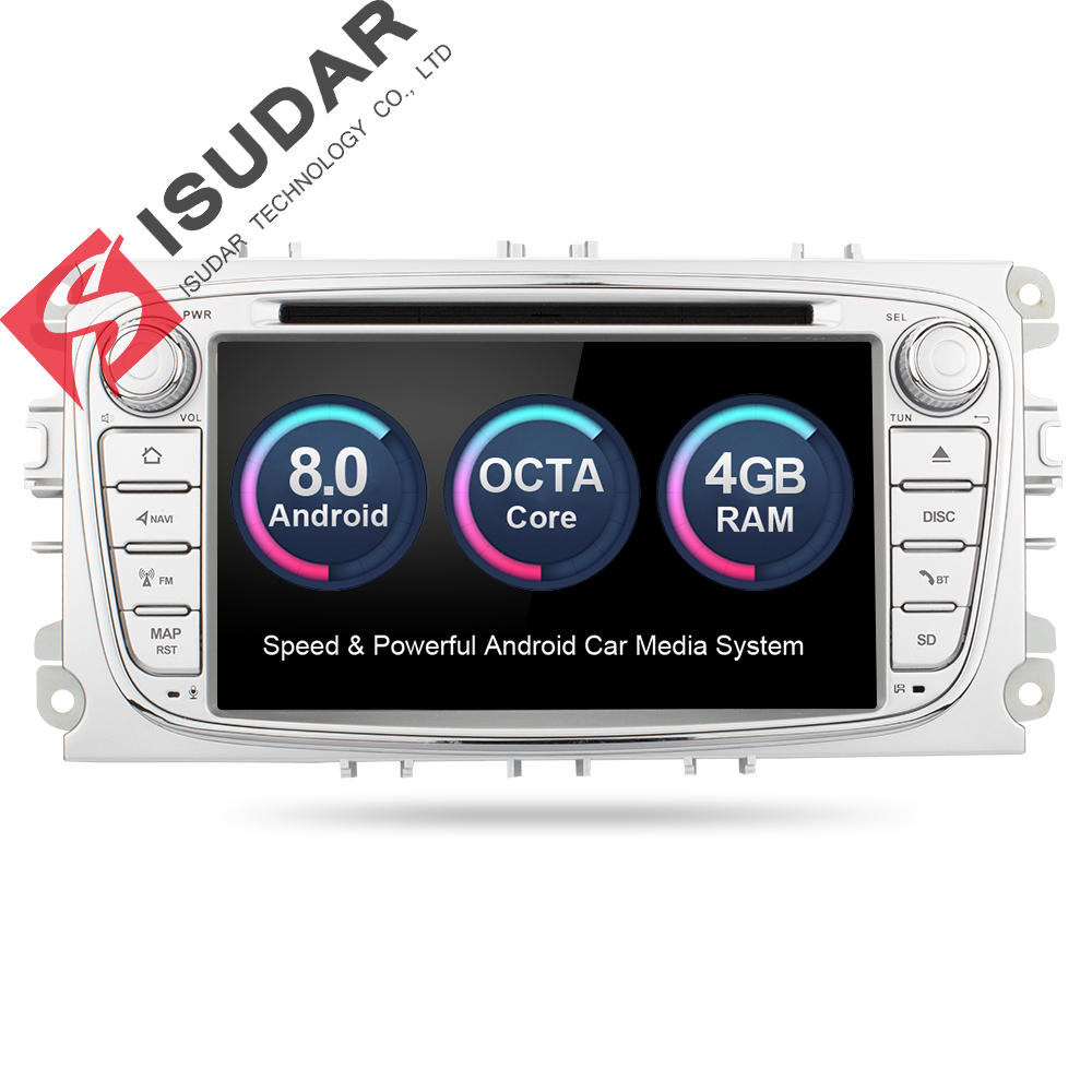 Isudar Car Multimedia player GPS Android 8.0 2 Din Octa Core For FORD/Focus/S-MAX/Mondeo/C-MAX/Galaxy Rear View Camera DVR wifi wireless car ccd reverse rear view camera for ford mondeo fiesta focus s max kuga