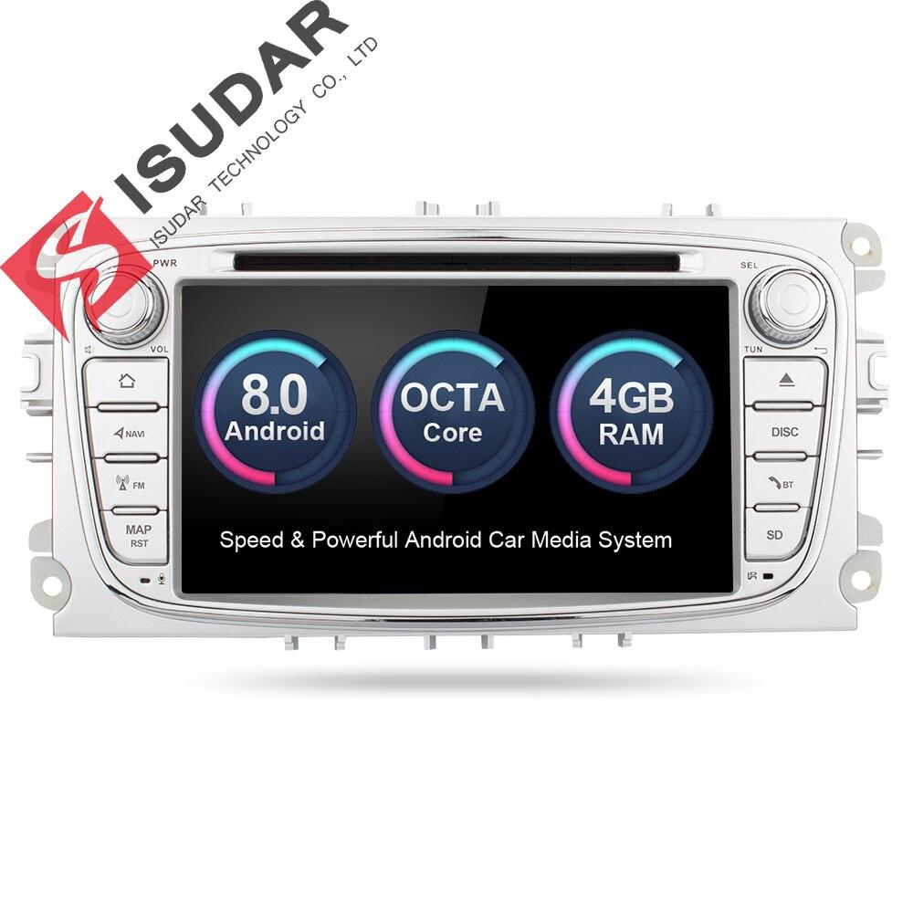 Isudar Car Multimedia player GPS Android 8.0 2 Din Octa Core Per FORD/Focus/S-MAX/Mondeo/ c-MAX/Galaxy Videocamera vista posteriore DVR wifi