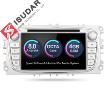 Isudar Car Multimedia player GPS Android 8.0 2 Din Octa Core For FORD/Focus/S-MAX/Mondeo/C-MAX/Galaxy Rear View Camera DVR wifi