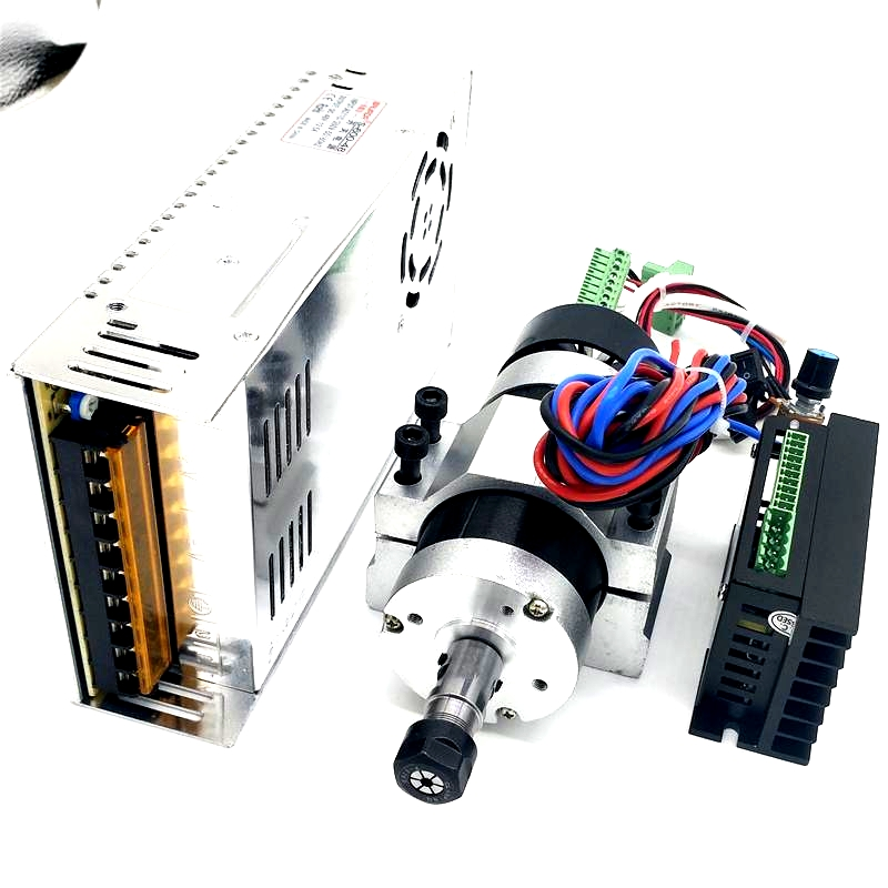цены на Brushless 500W CNC Router Spindle Motor ER11/ER16 DC Machine Tool Spindle + 55MM CNC Clamp + Motor Driver + Power Supply в интернет-магазинах