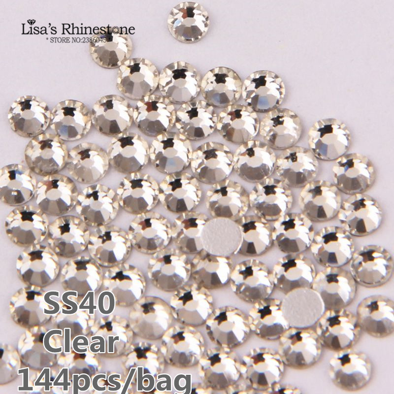SS40 8.4-8.7mm Clear non hotfix Rhinestones Nail Art Crystals 144pcs/bag glass strass glitters for Nails Decoration P0140