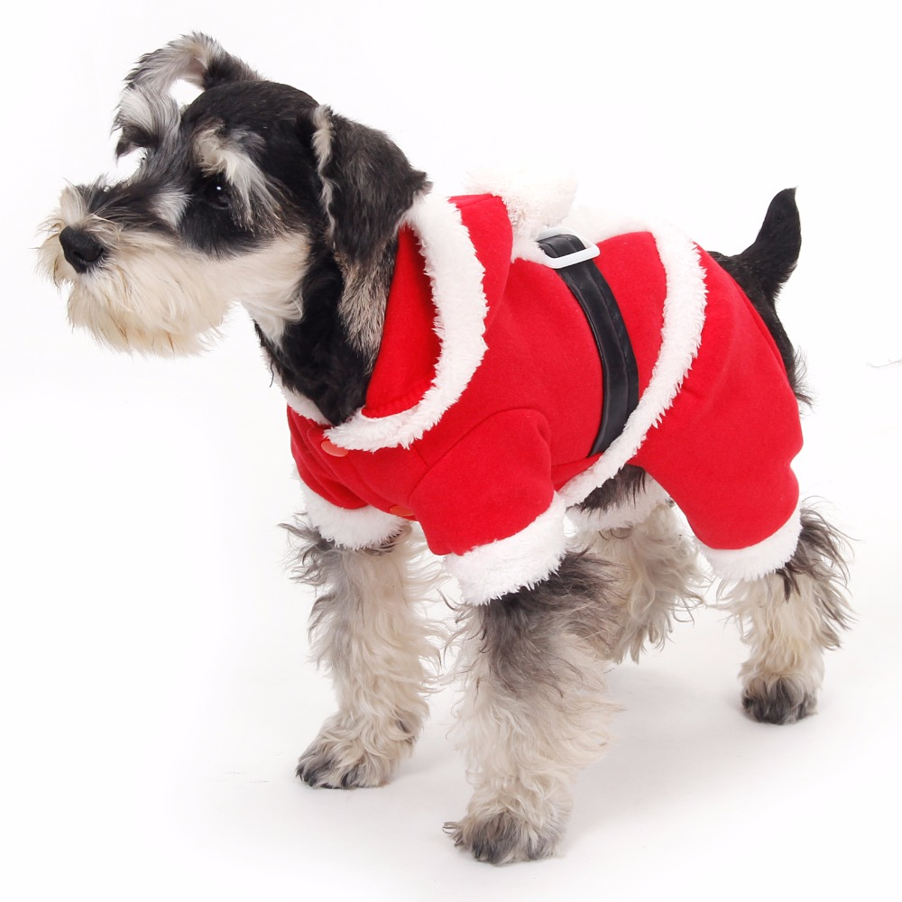Hot!!!!!Christmas For Dog Clothes Santa Suit Pet Puppy Cat Hooded Coat Winter Warm Clothing Pet Dog Apparel Products For Animals