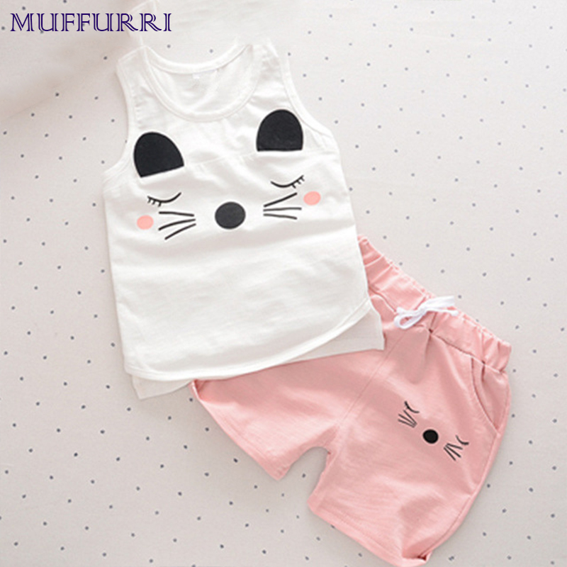 Muffurri 2PCS Summer Baby Set Kids Lovely Cat Print Clothing Sleeveless Tank Tops + Shorts Infant Baby Vest Suits 1-4T Clothes