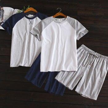 Pure Cotton Men Summer Short Sleeved Shorts Home Suit Pajamas Suit Splicing Fabric Soft Leisure Pyjamas Mens Pijama Sleepwear