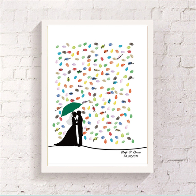 US $749 40 OFFNew!!! Umbrella Bride Groom Printed Customize Fingerprint  Art Paper Canvas Attendance Signature Guest Book Two Sets Ink Pad Gift-in