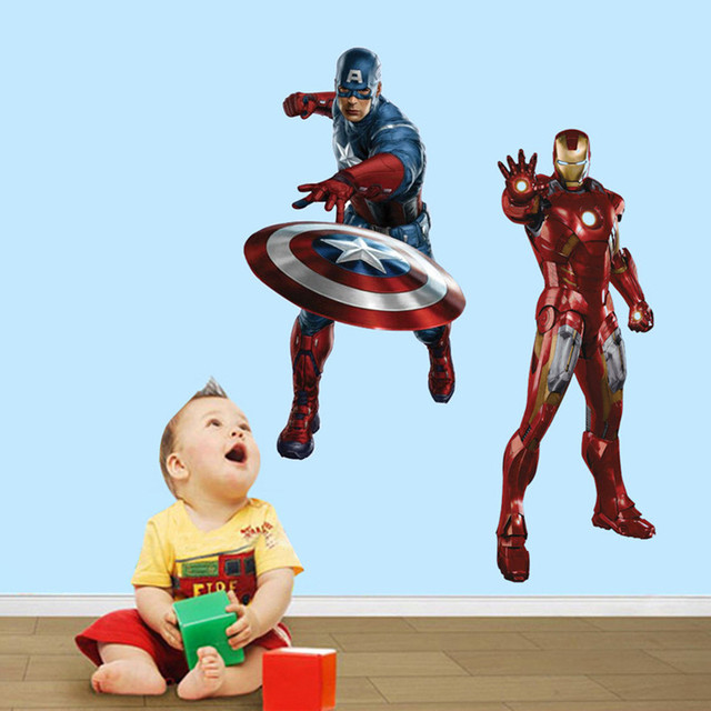 The Avengers Anime Wall Decals Super Heroes Hulk Iron Man Captain - Vinyl wall decals avengers