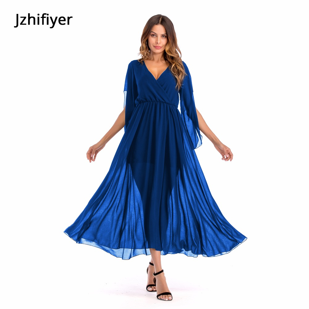plain chiffon dress mujer holiday maxi summer long onepiece sexy V-neck pareo beach kaftan size S-2XL casual party vestidos