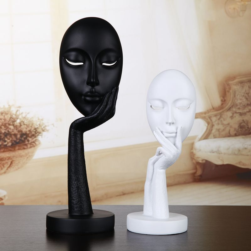 Home Decor Figurines Seducing Lady Mask Character statue classical dazing girl studyroom decor abstract thinking figure gift