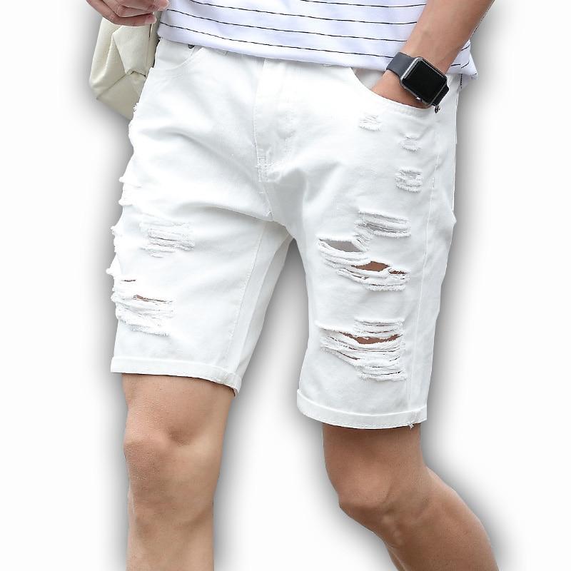 Mens Denim Shorts Slim Large size Casual Knee Length Short Hole Jeans Shorts For Men 2018 New Summer White Blue black