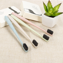 NEW children Natural Bamboo Charcoal  Toothbrush  Wheat Straw Handle  Toothbrush  Portable Travel Toothbrush