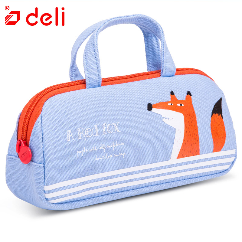 Deli Kawaii Fox Pencil Case for School student Supplies Office Stationery Gift Cute Hand Bag Girls Animal Pencil Box Canvas Bag new leather pencil case bag for school boys girls vintage pencil case box stationery products supplies as gift for student
