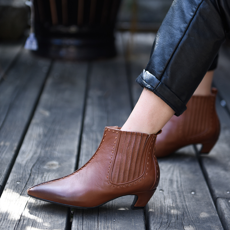 Artmu Original 2018 New Retro Genuine Leather Pointed Toe Ankle Boots Thick Heel Chelsea Boots Handmade Women Boots 890A-1 цены онлайн