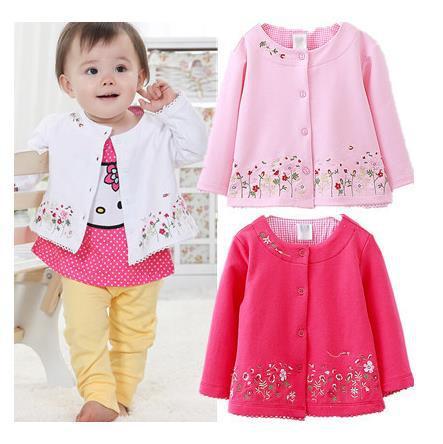 Весной и осенью новый детская Одежда Девочек с длинными рукавами кардиган пальто вышитые цветы Детская одежда бесплатная доставка