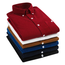 Spring and Autumn Mens Quality 100% Cotton Corduroy Long Sleeve Button Collar Casual Shirt