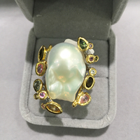 Baroque Natural Fresh Water Pearl Ring Cocktail Ring 925 Sterling Silver With Semi Precious Stone Fashion