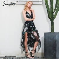 Simplee Sexy Cross Lace Up Backless Print Summer Dress Women Deep V Nevck Sleeveless Long Dress