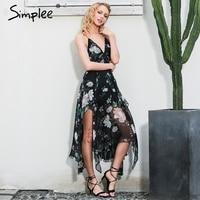 Simplee Sexy Cross Lace Up Backless Print Summer Dress Women Deep V Nevck Sleeveless Long Dress