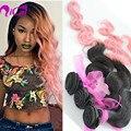 Ombre 2 Tom 1B/Rosa Cabelo Weave Brasileiro Virgem Remy Extensão Do Cabelo Humano 3 Pacotes Onda Do Corpo Ombre Rosa Tecelagem do cabelo