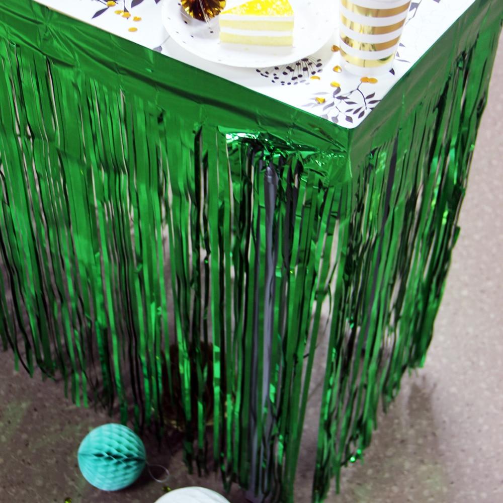 Metallic Fringe Foil Table Skirt Tinsel Table Curt...