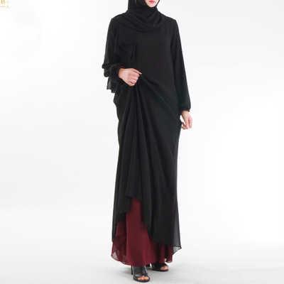 ドバイアバヤ女性二重層は、イスラム教徒のトルコロングドレスエレガントなローブ Musulmane トルコドバイ教徒の