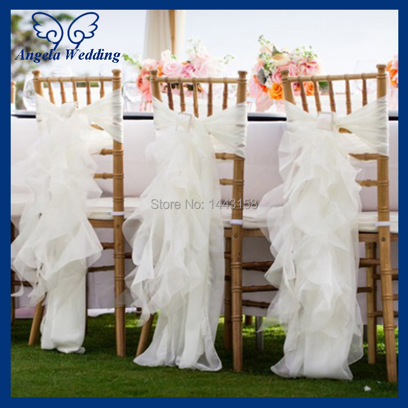 Cheap Wedding Chair Covers >> Us 5 09 15 Off Ch010a Wholesale Cheap Chiffon And Organza White Ruffled Wedding Chair Cover With Buckle In Chair Cover From Home Garden On