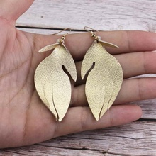 купить ZWPON Graceful Genuine Goat Leather Leaf Earrings for Women Trendy Lightweight  Soft Leather Earrings Jewelry Wholesale по цене 163.48 рублей
