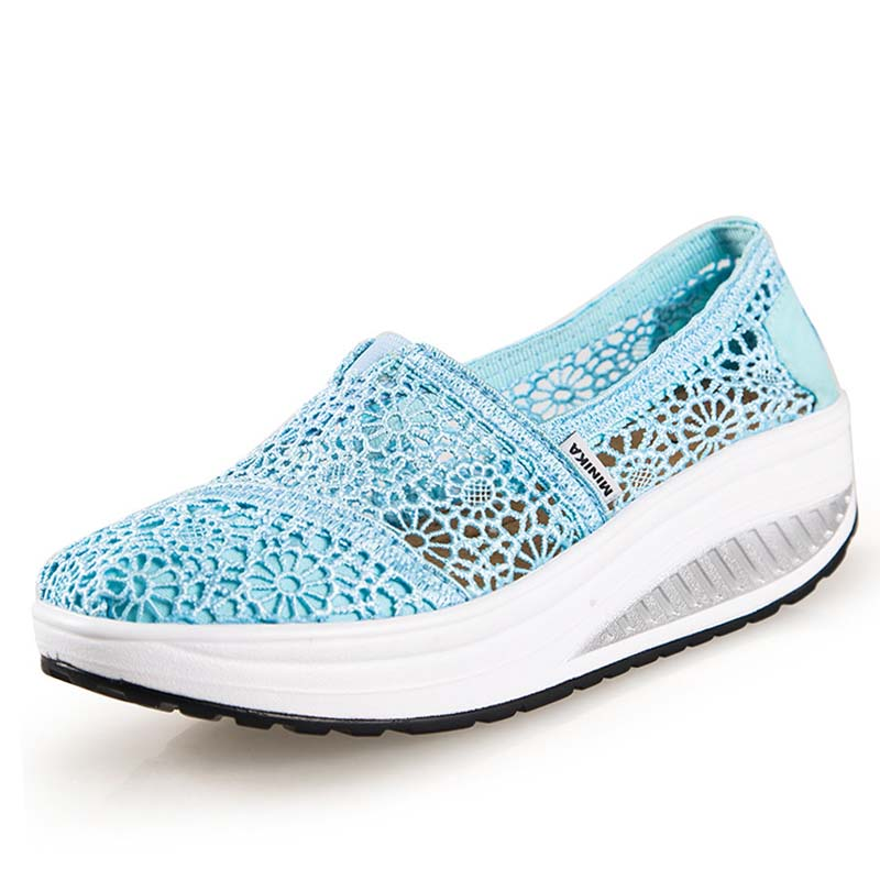 Xemonale Hot Sale Women Casual Shoes Breathable Lace Summer Wedges Shoes Woman Slip On P ...