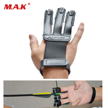 Finger Protection Guard Cow Leather 3 Finger Protect Glove Archery Accessory for Target Hunting Shooting