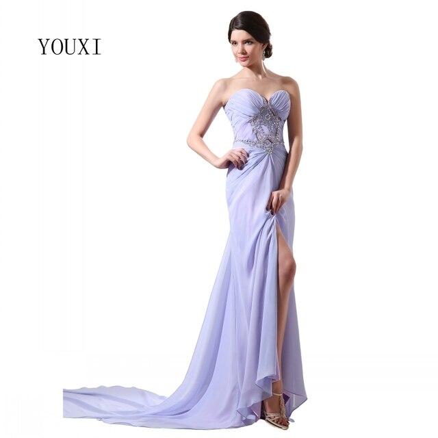 Fashion Lavender Prom Dress 2017 Crystal Beading Sequins Chifon High ...