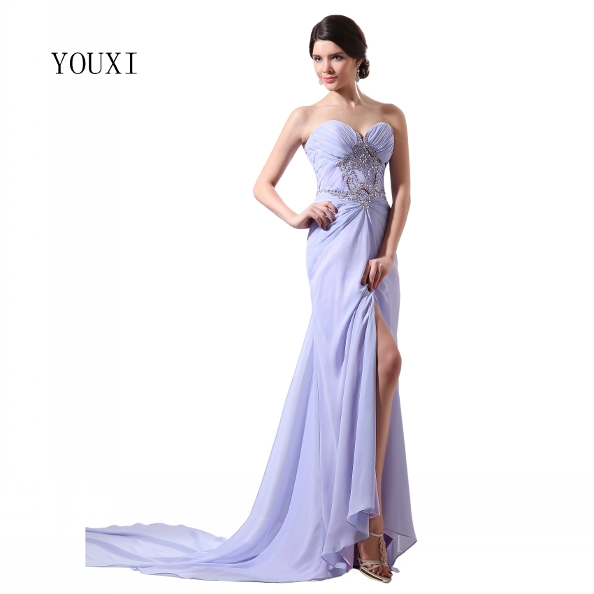 Fashion Lavender   Prom     Dress   2019 Crystal Beading Sequins Chifon High Quality Evening Gowns New Arrivals