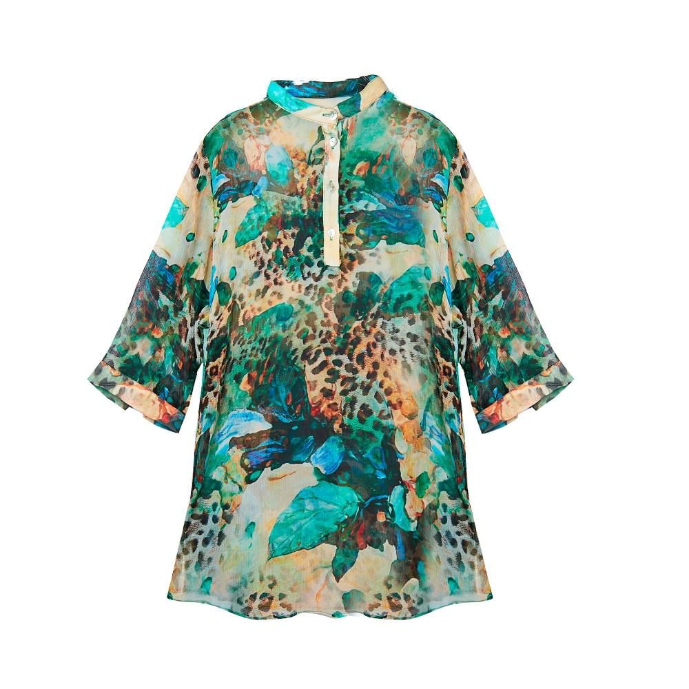 Pura Nuevo Estilo Mujeres La Arruga Verano Tela Nueva 02 Desigual Gasa Camiseta Seda 100 Camisetas Impreso 03 04 Natural De 2018 01 Wa0qnwZWcp