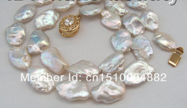 super big 17mm baroque white keshi reborn pearl necklace