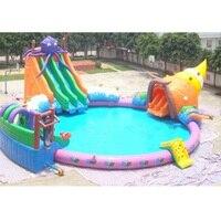 ПВХ коммерческих надувные водном игровой надувной бассейн с водными горками парки для продажи