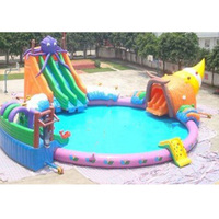 2017 PVC Commercial Inflatable Wate Game Inflatable Pool Water Slides Parks for sale