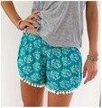 2017 moda verão mulheres lace casual calças curtas estilo bohemian impresso mid mid cintura elástica calças soltas calções de praia do verão