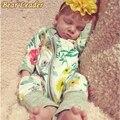 Líder urso 2016 Bebê Meninas Roupas Floral Impressão Macacão Para Gilrs Roupas de Inverno Do Bebê Recém-nascido Macacão de Manga Longa
