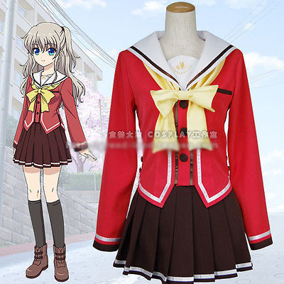 Charlotte Nao Tomori Cos Low-heel Shoes Cosplay Shoes Halloween Cosplay Boots Anime Custom-made Costumes & Accessories