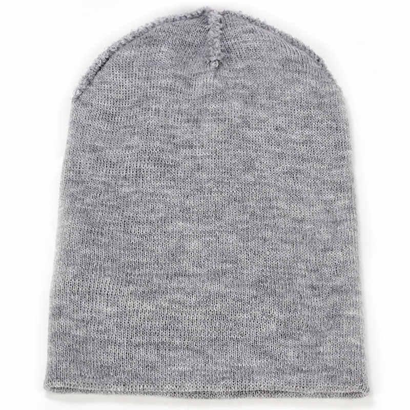2019 Malha chapéu do inverno tampão do algodão homem/mulher orelha mictório inocente da malha cap quente cap Skullies chapéu de cor sólida macio bonito osso de hedge