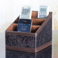 Fashion vintage leather desktop storage box tv remote control storage box sundries storage holder