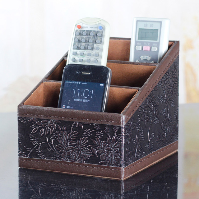 Superbe Fashion Vintage Leather Desktop Storage Box Tv Remote Control Storage Box  Sundries Storage Holder
