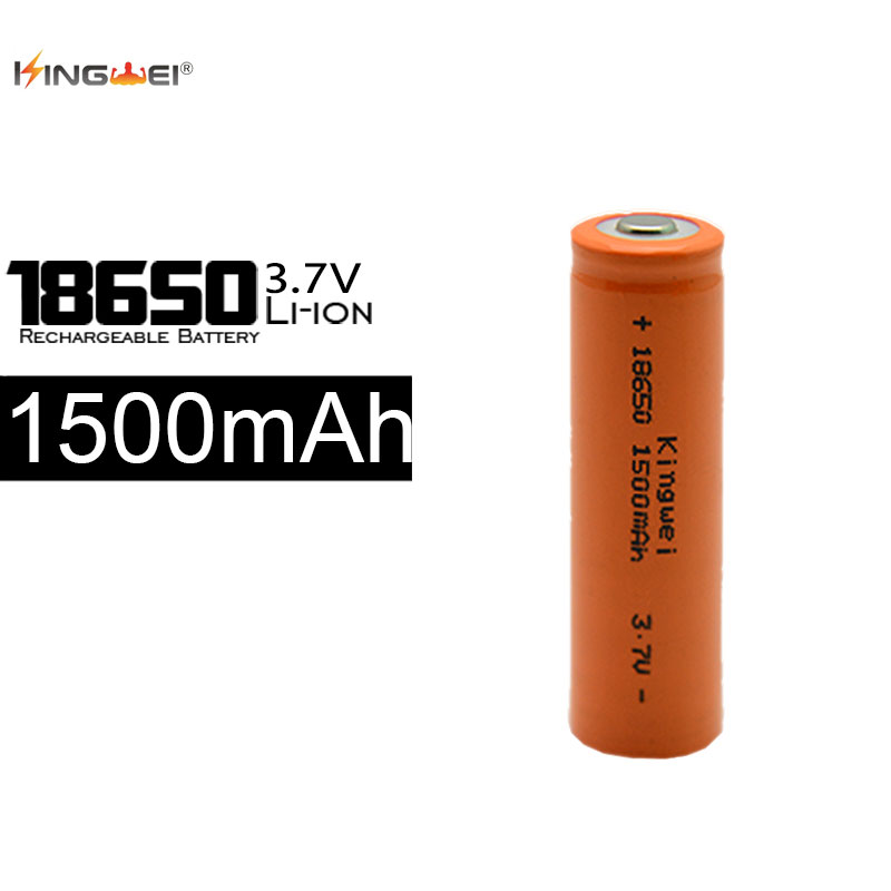 KingWei Real Capacity Orange 1500mah 18650 Lithium Rechargeable Battery 3.7v Li-ion Batterie For Torch Flashlight