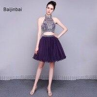 Baijinbai Новый Настоящее Фиолетовый из двух частей с коротким Homecoming платья Холтер горный хрусталь блестки Vestidos De Festa мяч Gown79082