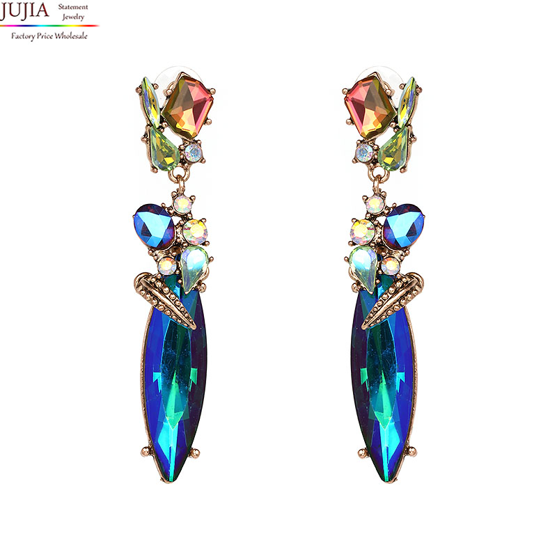 JUJIA 2017 New Hot Earring Jewelry good quality Crystal Multicolor Special Bohemia Big long Earrings for Women