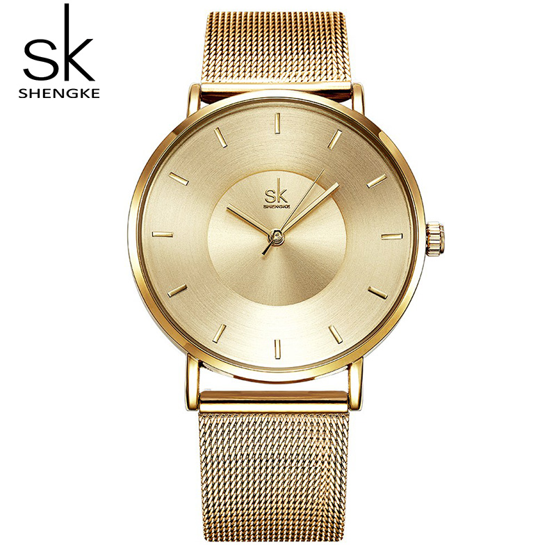 Shengke Gold Fashion Women Watches Ultra Thin Dial Ladies Quartz Watch 2019 SK Women Wrist Watch Relogio Feminino #K0059